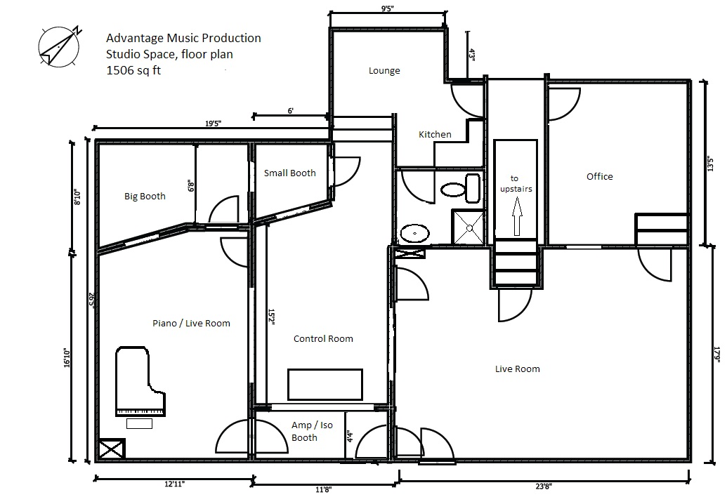 Floor plans for home recording studio home ideas 187 for Home recording studio plans